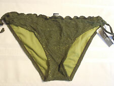Bisou Bisou S M L XL Army Olive Green Swimsuit Panty Keyhole Sides Tie Swim NWT