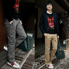 NEW Mens Skinny Casual Pants Slim Straight-Leg Jeans Leisure Trousers Black Gray