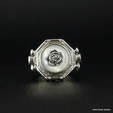 RARE NATURAL MOTHER OF PEARL & GARNET 925 STERLING SILVER GREEK HANDMADE RING