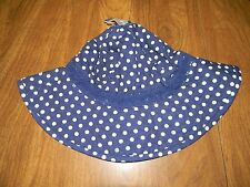 Old Navy Girls XS 6-12 Months or Medium 2T-3T Blue & White Polka Dot Sun Hat NWT