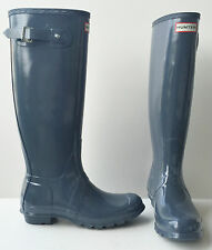 HUNTER ORIGINAL TALL GLOSS GRAPHITE GRAY RAIN BOOTS