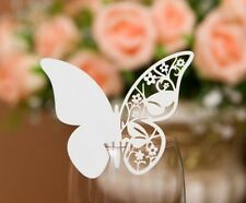 50x Butterfly Wedding Place Cards For Glass Wine Bomboniere Favors,white,ivory