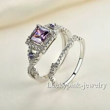 Handmade jewelry gift white gold filled purple topaz Wedding Ring set Size 5-10