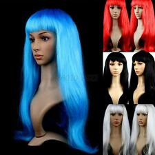 Women's Lady Long Straight Wigs Hair Cosplay Party Wigs Long Bangs 13 Colors B37