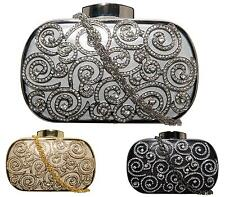 Ladies Girls Hardcase Wedding Crystal Evening Party Small Clutch Bag Bridal Purs