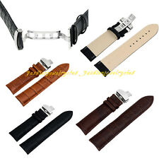 Men HQ Genuine Leather Watch Strap Band Butterfly Clasp Buckle 18/20/22/24 mm