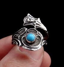 Spoon Ring with Turquoise, Floral Ring, Spoon Jewelry, Sterling Silver Ring