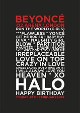 Beyonce - Set List Poster - London O2 28th February & 1st & 2nd March