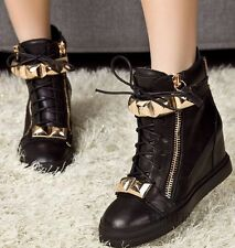 New 100% authentic leather GZ WOMENS metal inlay wedge heel shoes sneakers