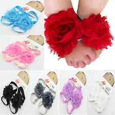 New Style Baby Boy Girl Flower Feet Toddler Shoes Barefoot Lace Blooms Sandals