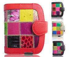 Fashion Ladies Real Soft Leather Patchwork Zip Small Coin Purse Womens Wallet Ca