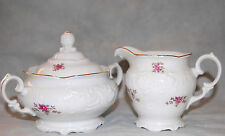 Vintage Wawel China Rose Garden Covered Sugar & Creamer Set Made in Poland