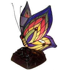 Tiffany Style Green Butterfly Table Lamp Reading Handcrafted Stained Glass