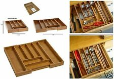 Bamboo Expandable Wooden Cutlery Tray Holder Tidy Drawer Draw Organiser Storage