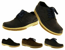 Mens REAL LEATHER YACHTSMAN Deck Shoes Casual Boat Shoes Black Brown Navy Size 7