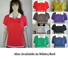 PLUS SIZE LAYERED LOOK SHORT SLEEVE POLO TOP BLOUSE 1XL 2XL 3XL ASSORTED COLORS