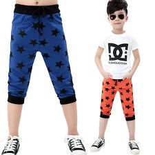 Kids Boys Girls Unisex Clothes Stars Harem Trousers Toddlers Half Pants 3-11Y