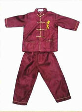 Chinese Boy's Kung Fu Shirt Pants Suit Burgundy Sz: 2 4 6 8 10 12 12 16