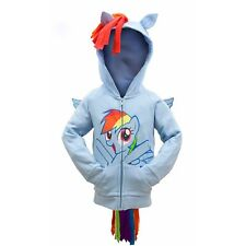 My Little Pony Rainbow Dash Kids Girls Blue Zip Hoodie w/ Wings & Mane