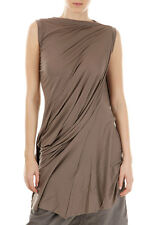 RICK OWENS LILIES  Women New Original Brown Draped Tunic Dress Made in ITaly
