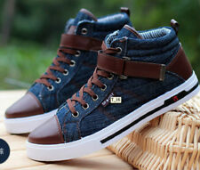 Mens Jeans Sneakers Casual Canvas lace up High-Top Stone-Washed sneaker Shoes