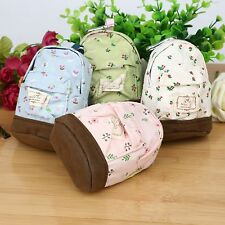 Lovely Canvas Pen Pencil Pouch Bag Coin Key Card Backpack Purse Wallet with Hook