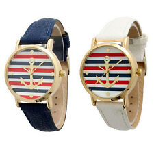 "2015 HOT Fashion Women""s Geneva Multi Color Striped Anchor Leather Watch Watches"