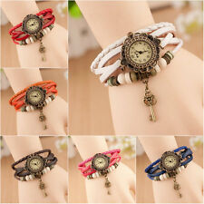 Womens Girls Leather Bracelet Key Decoration Analog Quartz Wrist Watch Fashion