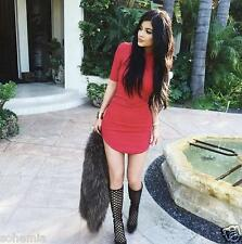 H&M NWT Exclusive Celebrity Kylie Jenner Ribbed Red Fitted Bodycon Dress 2 6 8