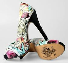 Iron Fist Here I Lie Shark Print Women's Platform High Heels