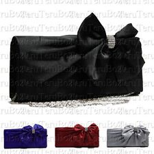 SATIN BOW DIAMANTE CRYSTAL PARTY BRIDAL PROM CLUTCH EVENING BAG