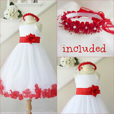 Pretty White/red rose petals bridal flower girl dress all sizes FREE HEADPIECE