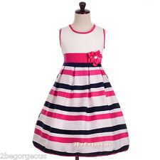 Striped Print Cotton Girl Party Holiday Summer Dress Colourful Age 4-8 Year #015