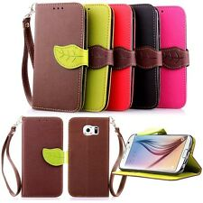Flip Leaf Stand Colors Wallet Leather Skins Case Cover For Samsung Galaxy Phone