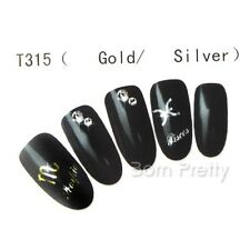 1 Sheet Gold Sliver Star Signs Nail Art Manicure Water Decals Transfers Sticker