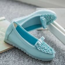 Women's Casual Fashion Round head Comfortable Driving Bow Flats Slip On Shoes
