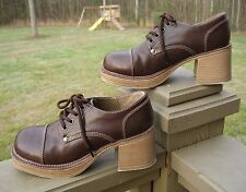 Chunky Brown Platform Oxfords - Ladies/Women's Size 9