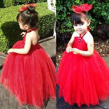 Red Flower Girl Halter Dress Wedding Pageant Party Child Kids Bridesmaid Dress