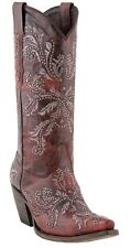 Lucchese M5715 Womens Red Leather Western Cowboy Boots With Swarovski Crystals