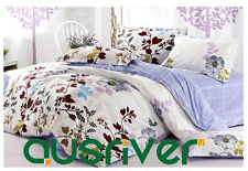 New Queen Bed Quilt/Doona/Duvet Cover Set 100% Cotton Flower Blue & White