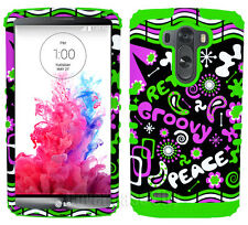 Retro Peace Groovy Pink Green Shock Resistant Phone Case Cover for LG Optimus G3