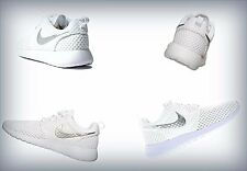 Women's Nike Roshe Run White&Platinum Grey 724850-100
