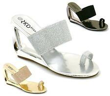 Womens Bridal Prom Wedding Shoes High Wedge Evening Ladies Sandals Size 3-8