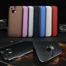 Case For HTC One 2 M8 Luxury Carbon Fiber Leather Back Cover Hard Elegant