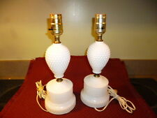 """Vintage Bedside Table Lamp White """"Milk Glass"""" HOBNAIL Need Clamp On Shades NICE!"""