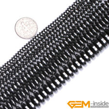 """Natural Black Hematite Gemstone Rondelle Spacer Beads For Jewelry Making 15"""" YB"""