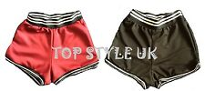 LADIES WOMEN SEXY CONTRAST RIBBED RUNNING YOGA GYM CYCLING SHORTS HOT PANTS