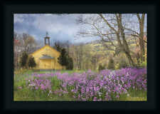 Fragrant Field Purple Flowers Landscape Framed Art Print Wall Décor Picture