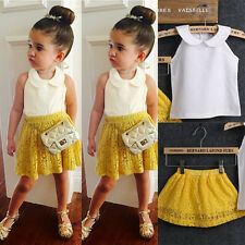 Kid Toddler Girl  Sleeveless Top Yellow Lace Dress 2-Pcs Suit Set Outfit