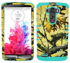Mint Blue Yellow Hunter Camo Hybrid Protective Hard Cover Case for LG Optimus G3